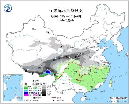 △全国降水量预报图(2月9日08时-10日08时)