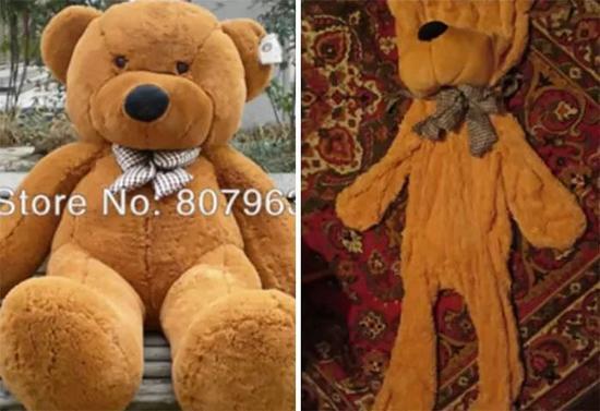 """这个更惨,玩具熊买回来直接就""""身体被掏空了""""。"""