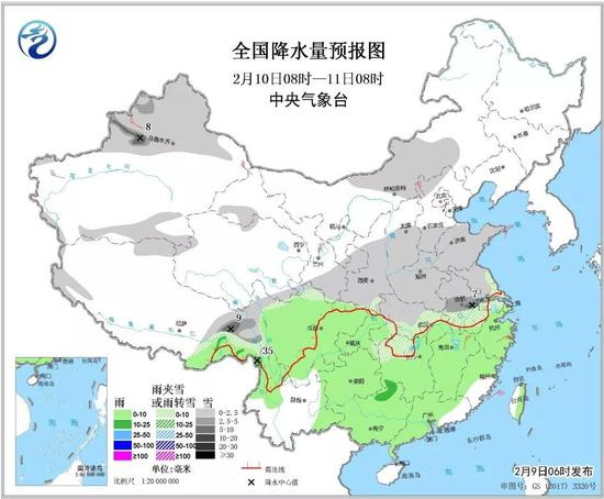 △全国降水量预报图(2月10日08时-11日08时)