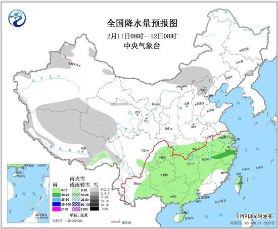△全国降水量预报图(2月11日08时-12日08时)