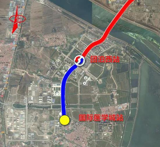 ▲国际医学城站至团泊西站(不含)平面示意图(蓝线部分)