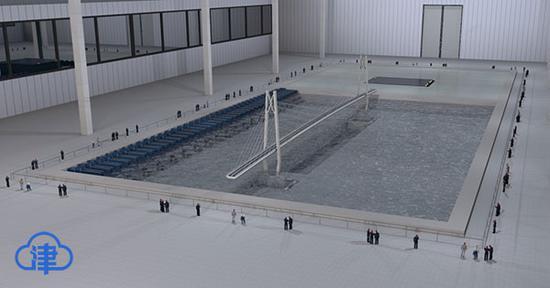 大跨桥梁水下振动台台阵波流耦合试验现场效果图