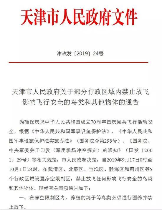 天津这几个区禁飞鸽子、无人机、风筝、气球、孔明灯