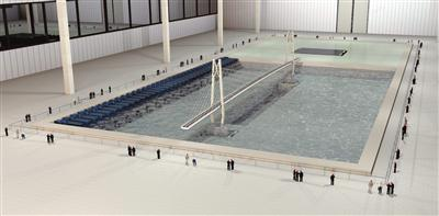 大跨桥梁水下振动台台阵波流耦合试验效果图