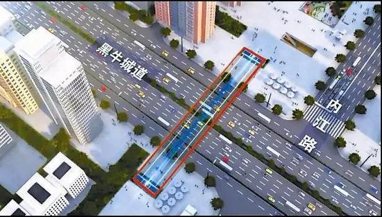 图为新八大里过黑牛城道地下通道示意图,图中红线所示为地下通道位置。