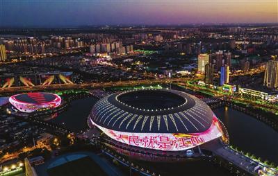 庆祝中国共产党成立100周年主题联动灯光秀启动