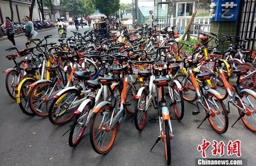 图为江西南昌一共享单车停放点。(资料图) 中新社记者 刘占昆 摄