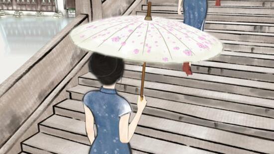 一个丁香一样的姑娘,撑着油纸伞,走向寂寥的雨巷。