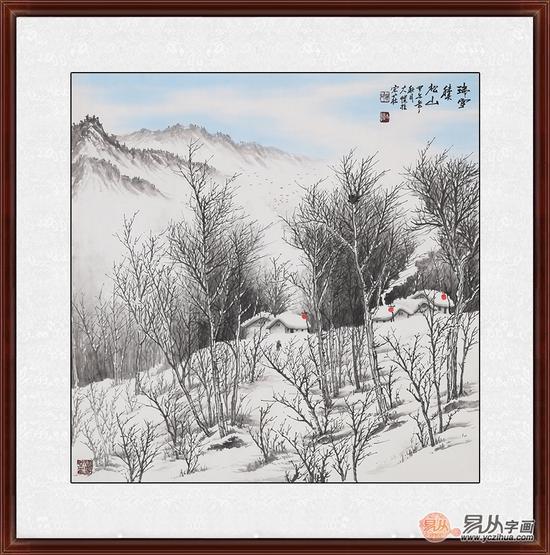 吴大恺雪景山水画作品分享展示图片
