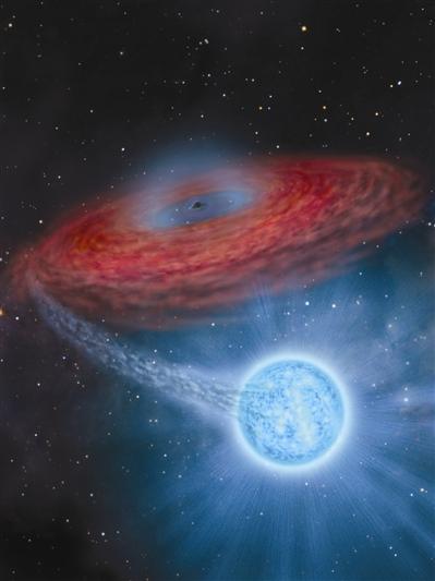 LB-1的艺术想象图,中心黑色的点表示黑洞,周围红色的圆盘代表截断的吸积盘,右下蓝色天体是伴星B型星。
