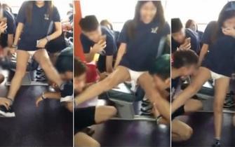 香港一高校迎新 2男生舔1女生大腿