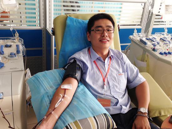 ▲2015年夏天为白血病儿童捐献血小板