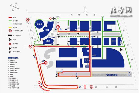 世界智能驾驶挑战赛自动驾驶组比赛线路图和障碍点