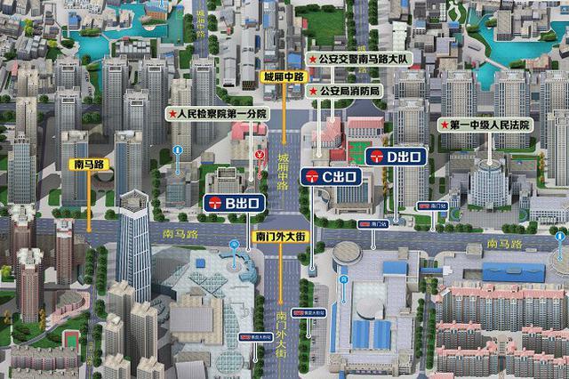 鼓楼地铁站3D街区图来了 津市民了解一下