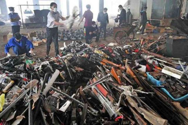 天津市集中销毁各类枪支1600余支