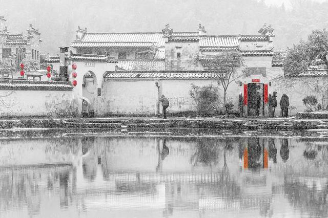安徽宏村雪景美如画