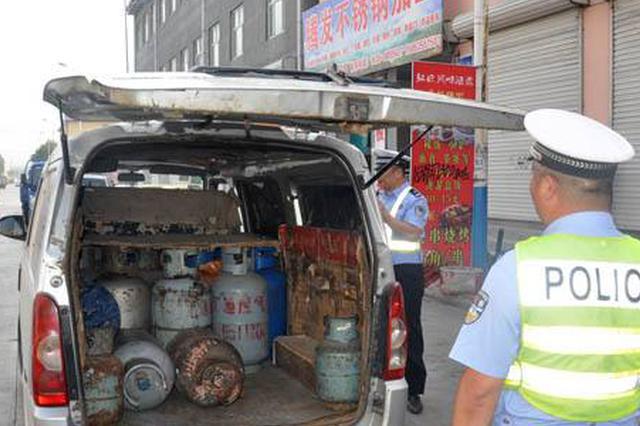 8辆面包车装了380公斤液化气被蓟州区警方查获