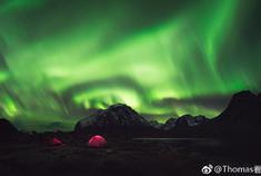 北极格陵兰岛极光冰山