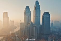 航拍天津市区景色