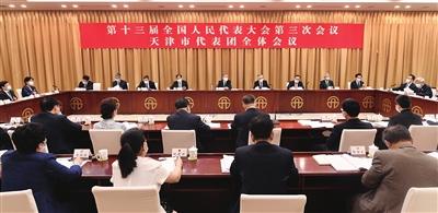 天津代表团举行全体会议审议政府工作报告。杜建雄 摄