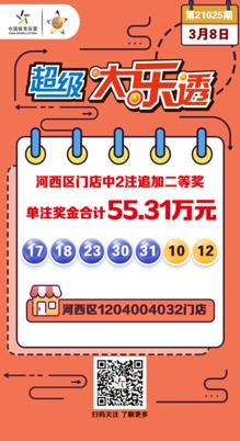 恭喜天津河西区门店喜获大乐透追加二等奖2注,快来看看是不是你中的?
