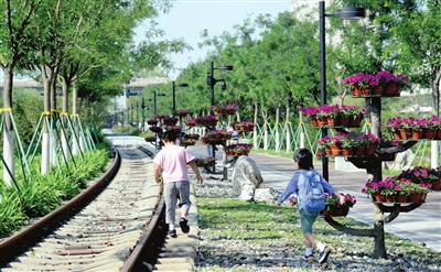 图为李七庄铁路公园