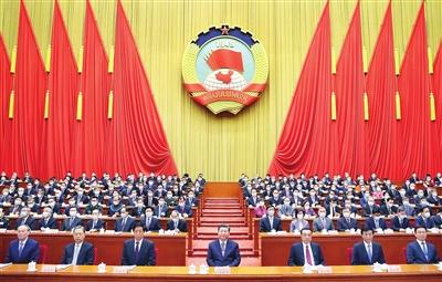 3月4日,中国人民政治协商会议第十三届全国委员会第四次会议在北京人民大会堂开幕。这是习近平、李克强、栗战书、王沪宁、赵乐际、韩正、王岐山在主席台就座。新华社记者 鞠鹏 摄