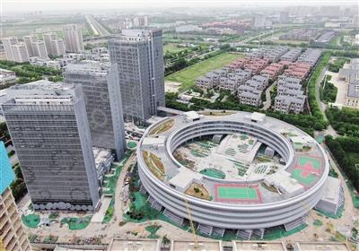 奇虎360天津创业平台EPC项目近日航拍图 中建三局奇虎360项目部提供