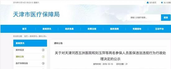 天津2人门特被取消 罚6万