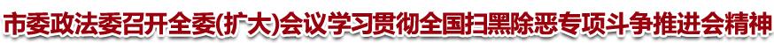 市委政法委召开全委(扩大)会议 学习贯彻全国扫黑除恶专项斗争推进会精神