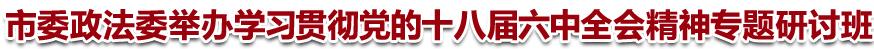 市委政法委举办学习贯彻党的十八届六中全会精神专题研讨班