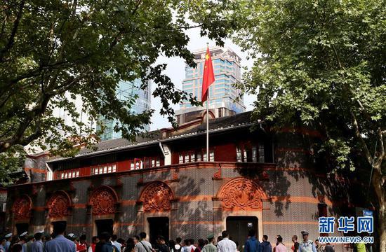 中共一大会址纪念馆外景(2017年10月1日摄)。新华社记者 刘颖 摄