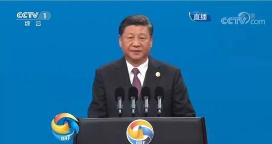 (图:习近平主席发表主旨演讲现场。来源:央视新闻)