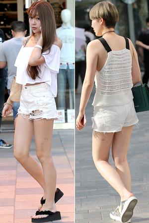 街拍:穿超短裤的清凉美女