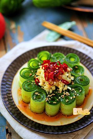 好吃又好看的响油黄瓜卷