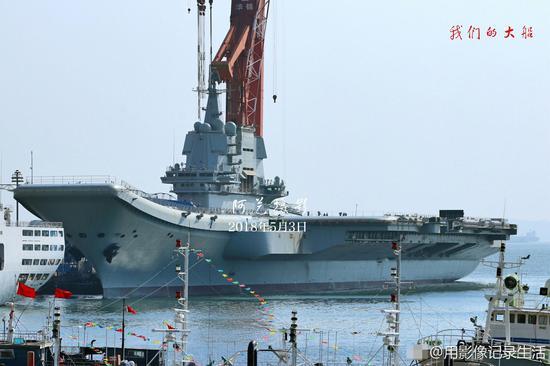我国产航母将首航:官兵已开始驻舰 船体不断排水三井由美