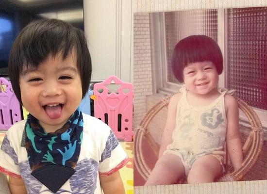小儿子Kyson(左)跟林志颖小时候长超像。