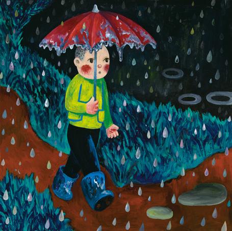 烟囱的《雨》布面油画