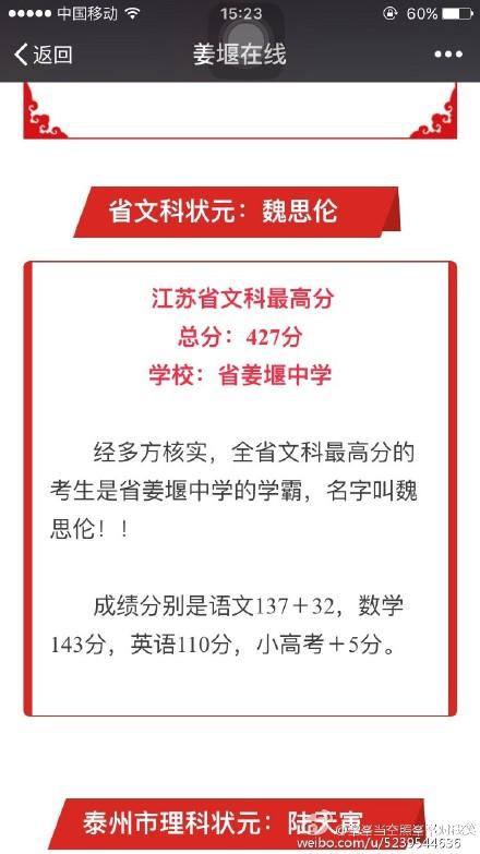 江苏省泰州姜堰中学魏思伦喜讯