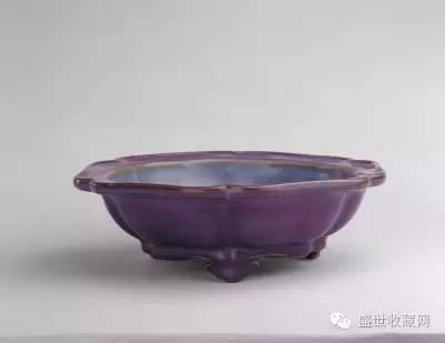 鈞窯玫瑰紫釉葵花式花盆 北宋