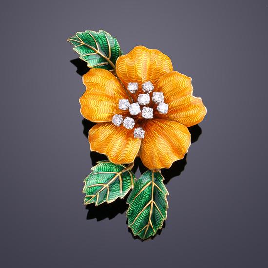 1940年代 Boucheron宝诗龙 古董钻石珐琅胸花