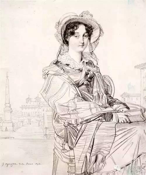查尔斯・巴德姆夫人 1816,铅笔肖像画