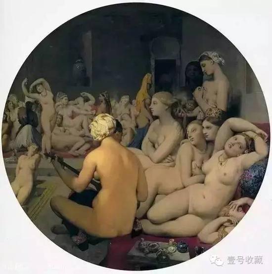 《土耳其浴室》 木板油画 108*108cm ,卢浮宫博物馆藏