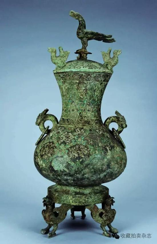 青铜错金银立鸟壶  为圆形,南京博物院藏,战国时期,通高74cm、口径19cm