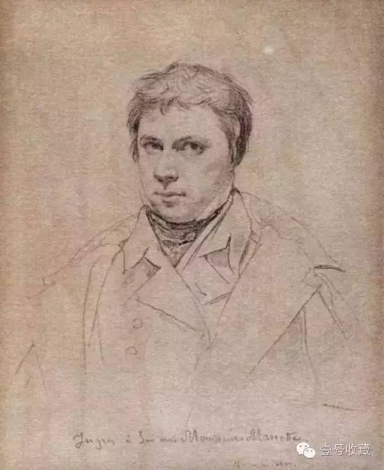 安格尔1822年素描《自画像》
