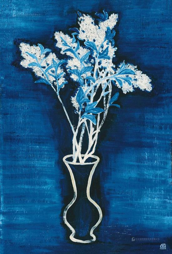 1956年作 蓝色背景的盆花 布面油画