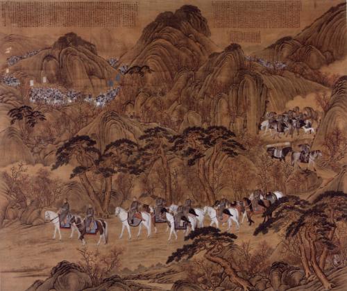 郎世宁绘《哨鹿图轴》,北京故宫博物院藏品