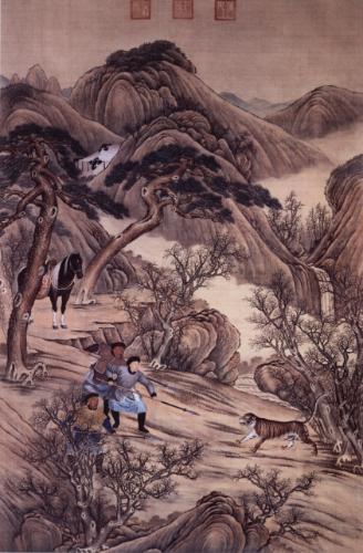 图四 佚名《乾隆刺虎图》,  北京故宫博物院藏品