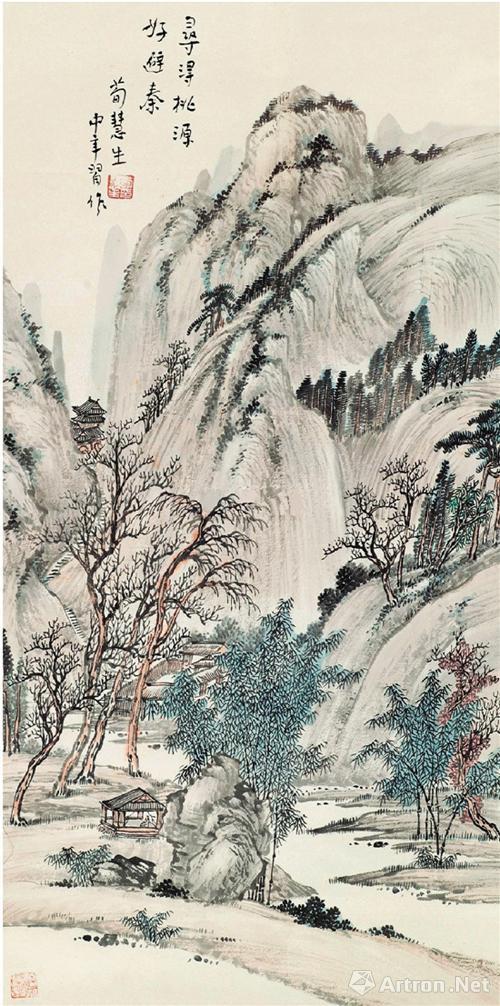 荀慧生 桃园幽居 立轴(2011年上海泓盛5.75万元成交)