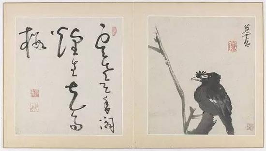 《花鸟鱼虫图》(册,十一页),1688-89,八大山人画,法翊书法